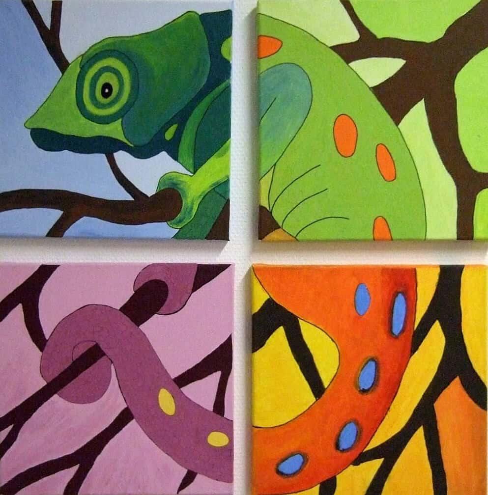 Chamäleon auf Leinwand, Kunsttherapie